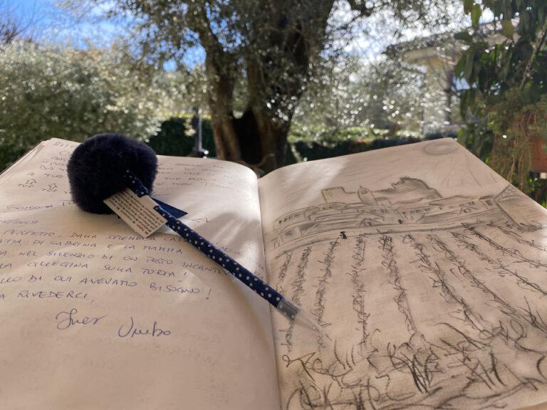 quaderno aperto con disegno e recensioni sullo sfondo un ulivo